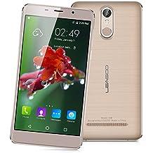 "Leagoo M8 - 3G Smartphone Libre Android 6.0 (Pantalla 5.7"" HD, 1.3GHz MT6580 Quad Core, 2GB RAM 16GB ROM, Cámara Dual 13.0MP+8.0MP, Dual SIM, Touch ID, GPS WIFI Bluetooth, Smart Wake) (Dorado)"