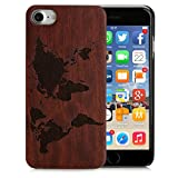 Arktis iPhone 7 Holzhülle Case Cover - Weltkarte Design Dunkelbraun passgenau Rosenholz