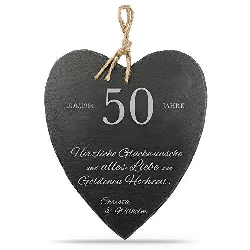 Casa Vivente Großes Schieferherz mit schöner Gravur Golden Hochzeit – Personalisiert mit [WUNSCHNAMEN] und [DATUM] [MOTIV] – 23 cm x 27 cm x 0,6 mm – mit Jute Band zum Aufhängen