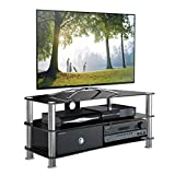 1home TV Stand Curved GT6 Black Glass Tempered for 32-70 inch 120cm Wide Plasma/LCD/LED/3D