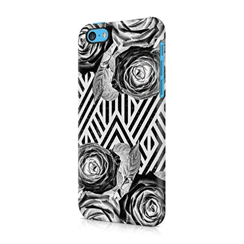 Black Rose Pattern Indie Boho Stripes Durable Plastic Phone Protective Case Cover For Apple iPhone 5C Custodia