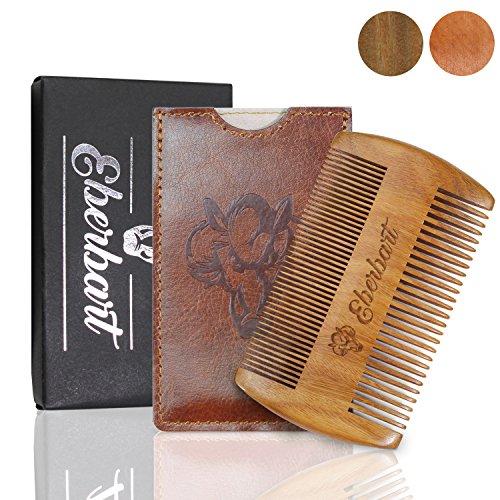 Eberbart Pettine barba legno (LEGNO PERA + CUSTODIA) - Pettine tascabile barba per la cura della barba inl. custodia in pelle sintetica + eBook gratuito