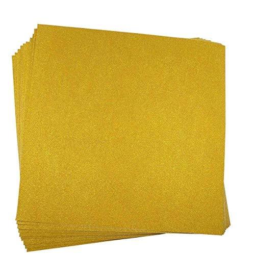 10 Blatt Klebefolie Glitzer Selbstklebende Dekofolie Farbige Bastelfolie Glitter Vinyl Aufkleber für DIY Handwerk Scrapbooking 30x30cm Gold - Gold Glitter Scrapbooking