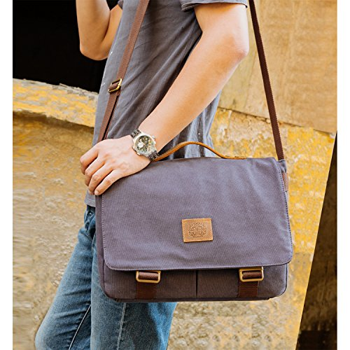 Outreo Schultertasche Herren Aktentaschen Vintage Kuriertasche Schule Umhängetasche Universität Handtasche Taschen Messenger Bag Herrentaschen für Laptoptasche Blau