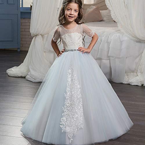 Abito da ballo princess party kids costumi hosting, pizzo ricamato, semplice principessa, pois, ragazza di charme, abito da sposa (dimensione : 6-7t)