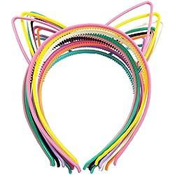 10pcs Diademas gato Orejas Diademas cinta pelo banda de plástico con diseños diferentes de colores para Fiesta joyas Masquerade