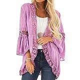 BaZhaHei Mode Frauen lose beiläufige 3/4 Bell Sleeve Lace Kimono Cardigan Tunika Strick Mäntel Kimono Parka Outwear