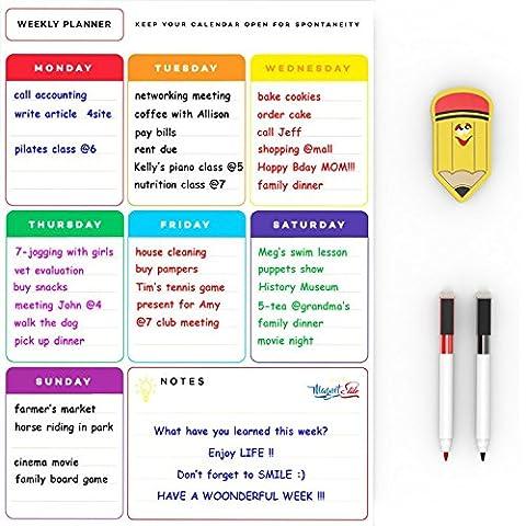 Magnetic Weekly Planner White Board - Weekly Planner Pad Big Whiteboard - Useful Magnetic Calendar Fridge Whiteboard - Kitchen Memo Board 30x40 cm - Bonus: 2 Dry Erase Pens & a Magnetic Eraser