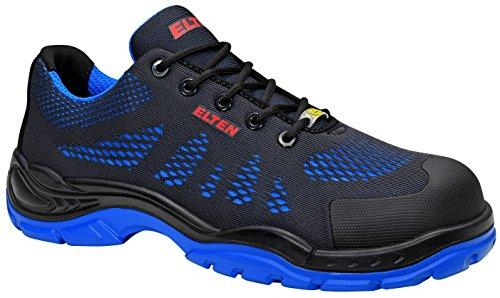 ELTEN Sicherheitsschuhe FINN blue Low ESD S1, Herren, sportlich, leicht, schwarz/blau, Kunststoffkappe - Größe 42