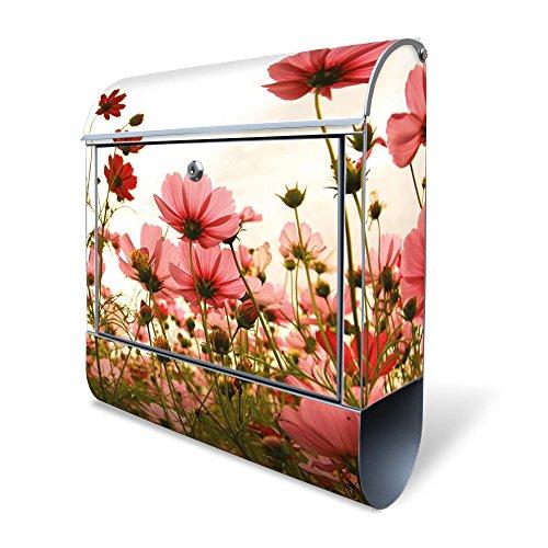 BANJADO Design Briefkasten mit Zeitungsfach, 2 Schlüssel, A4 Einwurf, silber pulverbeschichtet, mit Motiv Schmuckkörbchen