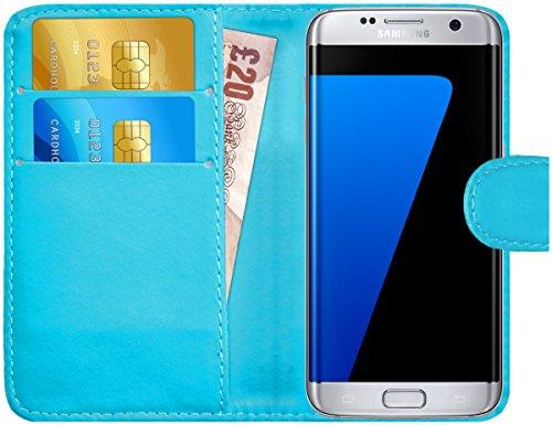 GizzmoHeaven Samsung Galaxy S7 Edge Leder Hülle Schutzhülle Tasche mit Karte Halter Klappetui Flip Case Cover Etui Brieftasche für Samsung Galaxy S7 Edge SM-G935F mit Displayschutzfolie und Stylus-Stift - Hell Blau