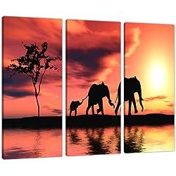 3102 Kunstdruck auf Leinwand, Afrikanische Elefanten, Orange, 3-teiliges Bild