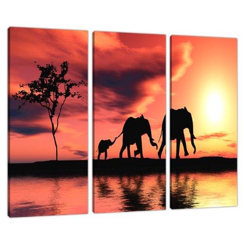 3piezas naranja lienzo imágenes África elefantes pared Prints 3102