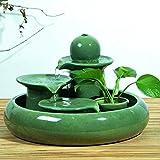 LONG Kreative Verzierungen Keramikbrunnen wasser Handwerk Wohnzimmer home Wasser Luftbefeuchter dekorative Geschenke, grün