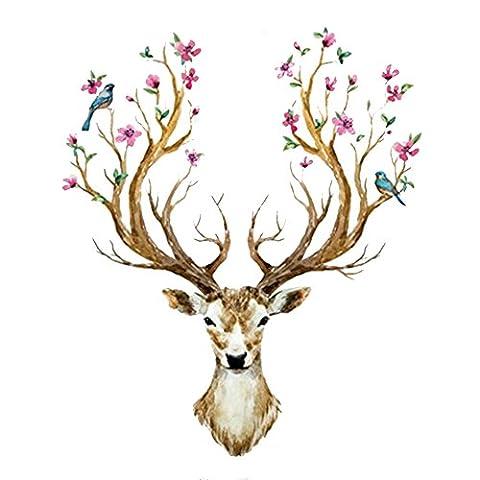 Eizur 3D PVC Cerf Sika Stickers Muraux Amovible Décoratifs Deer Autocollants Pour Chambre Restaurant Den Entrée Salon Room