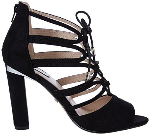 Quiz Faux Suede Lace Up Block Heel Sandals, Escarpins Bout ouvert femme Noir (noir)