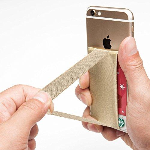 Sinjimoru Smart Wallet mit Handy Fingerhalterung, Slim Wallet/Kartenetui/Kartenhalter/aufklebbare Mini Geldbörse mit Handschlaufe für die Einhandbedienung. Sinji Pouch Band, Beige. Band Mini-handy