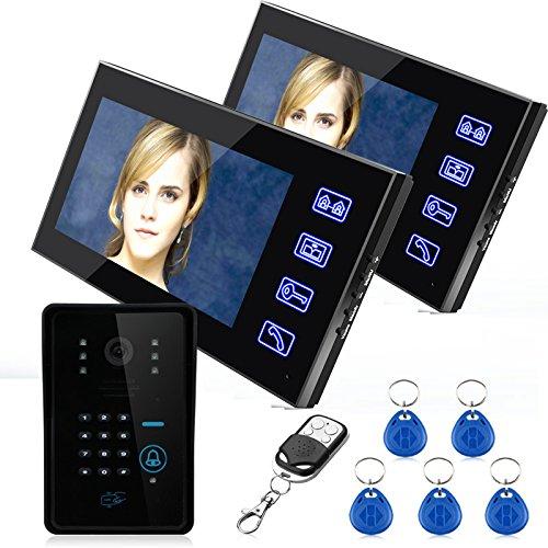 "Preisvergleich Produktbild Touch Key 7""Farbe RFID Video Türsprechanlage Türklingel Video Intercom System 5 ID Karte Video Intercom 2 Monitor Großhandel"