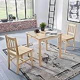 Pharao24 Tisch mit Zwei Stühlen aus Kiefer Massivholz Landhausstil