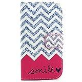 DETUOSI Galaxy S3 Case - Flip Cover Leder Schutzhülle Tasche für Samsung Galaxy S3 I9300 / S3 Neo Handyhülle Etui Schale mit Standfunktion Kredit Kartenfächer - Lächeln-Welle