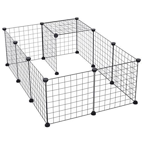 Pawhut Cage Parc pour Animaux domestiques L 106 x l 73 x H 36 cm Bords arrondis Fil métallique Noir 55