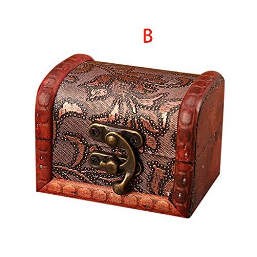 Jgashf scrigno del tesoro vintage bauletto stile antico per accessori gioielli oggetti di valore, cassaforte in legno, idea regalo decorativa 8x6x6cm (marrone, b)