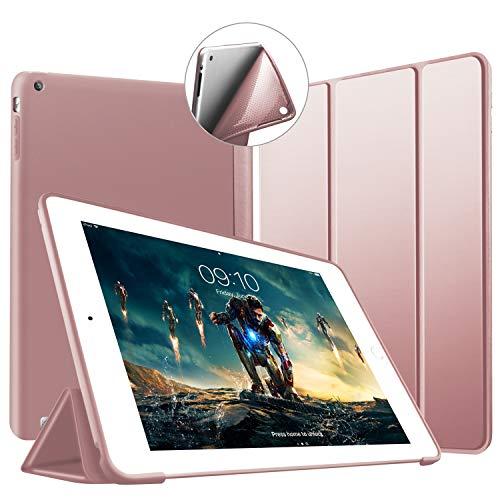 iPad 2 3 4 Hülle -VAGHVEO Ultradünne Leichtgewicht Trifold Ständer Schutzhülle [Auto aufwachen/Schlaf] Smart Cover mit Weicher TPU Rückseite für Apple iPad 2 /iPad 3 /iPad 4 Retina (Roségold)