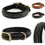 Design-Line von Pear Tannery: Hundehalsband aus weichem Vollrindleder, versehen mit einer edlen Nahtverzierung in weiss, L 46-56cm, schwarz