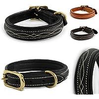 [Gesponsert]Design-Line von Pear Tannery: Hundehalsband aus weichem Vollrindleder, versehen mit einer edlen Nahtverzierung in weiss, M 41-51cm, schwarz