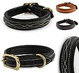 Design-Line von Pear Tannery: Hundehalsband aus weichem Vollrindleder, versehen mit einer edlen Nahtverzierung in weiss, XXS 26-36cm, schwarz