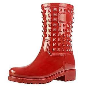 Rivetti moda donna stivali di tubo in un solido colore stivali impermeabili scarpe da acqua di slittamento , wine red , 41