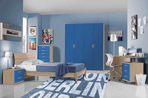 Valentini Cameretta completa modello Hurrà - Composizione 4 - Colore Olmo e Blu