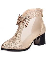 GBT Chaussures Creuses Chaussures Nasses Chaussures Pour Femmes Bow Chaussures En Peau De Mouton À Talons Hauts