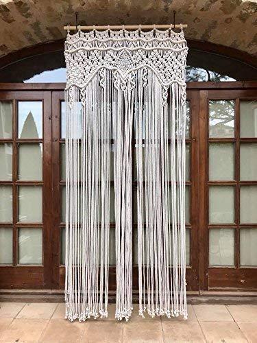 Cortina de macramé para puerta y ventana