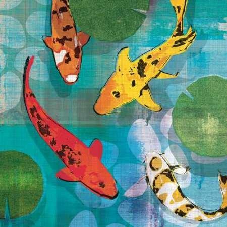Lucky Koi I par Venter, Tandi -Imprimé beaux-arts sur toile - Petit (73 x 73 cms)