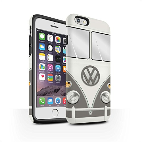 STUFF4 Matte Harten Stoßfest Hülle / Case für Apple iPhone 6S / Titan Rot Muster / Retro T1 Wohnmobil Bus Kollektion Maus Grau