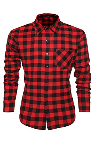 Coofandy Camisa Caballero Long Sleeve Cuello Clásico