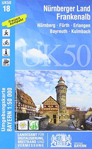 UK50-18 Nürnberger Land, Frankenalb: Nürnberg, Fürth, Erlangen, Bayreuth, Kulmbach, Lauf, Hersbruck, Schwabach, Baiersdorf, Gräfenberg, Velden, ... Karte Freizeitkarte Wanderkarte)