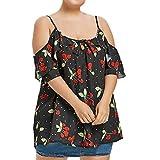 MOIKA Damen T Shirt, New Plus Größe Frauen Casual Riemchen Schulterfrei Cherry Print T Shirt Tops Bluse Sommer Erfrischende Camis(L,Schwarz)