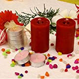 Kieana Christmas Candles For Decoration & Gifts, Set Of 2 Rose Pillar With 4 Scented Rose Fragrance Floating Tealight Votive For Pillars