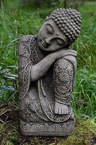 SLEEPING WELSH BUDDHA CAST STONE GARDEN ORNAMENT / STATUE /