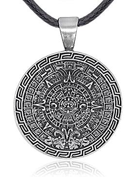 Llords Schmuck | Mayan Calendar Maya-Kalender Anhänger Halskette, feinster Zinn Metall Modeschmuck