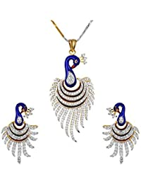 QURVED Fashion Jewellery American Diamond Meenakari Peacock Pendant Necklace Jewellery Set For Women With Earrings