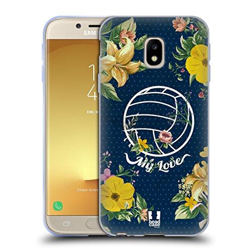 head case designs pallavolo bocciolo fiori e sport cover in morbido gel compatibile con samsung galaxy j3 (2017)