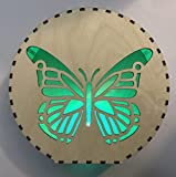 Dekorativer Kreis mit Spruch Gravur Lampe Beleuchtung LED Farbwechsel Schmetterling Zeichnung