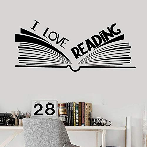 Ich liebe lesen wörter wandtattoos buch bookshop bibliothek leseraum wandaufkleber kunst wandbild für klassenzimmer 42x97 cm