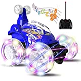 UTTORA Voiture Télécommandée, Jouet pour Enfant Fille Garçoan, Voiture Escalade à Double Mode 360° Tournant avec Télécommande,LED Lumière Avant et Arrière,Câble USB, Cadeaux pour Filles et Garçons