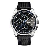 Relojes Pulsera Cronógrafo Calendario 30M Impermeable Analógico Relojes Hombre Negro Cuero Deportivo, Azul