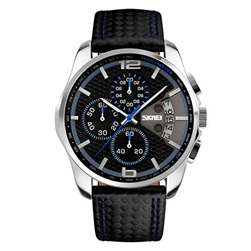 Montre À Quartz En Cuir Luxe Chronographe Étanche Calendrier Montres Pour Homme, Bleu