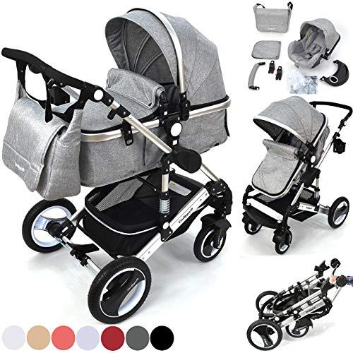 Daliya Bambimo 3 in 1 Kinderwagen - Kombikinderwagen Riesenset 14-Teilig incl. Babywanne & Buggy & Auto-Babyschale - Alu-Rahmen/Voll-Gummireifen - Wickeltasche/Regenschutz/Kindertisch in Grau